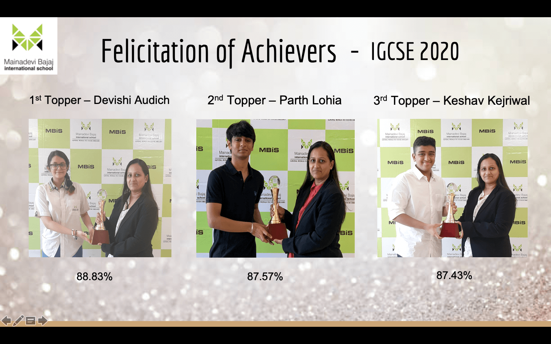 Felicitation of Achievers IGCSE 2020