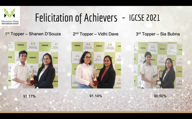 Felicitation of Achievers IGCSE 2021